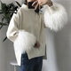 Fashion Luxury Ladies Warm 100% Cashmere Fur Cuff Computer Knitted Wool Sweater Custom Furry Jumper Sweaters