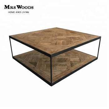 Rustic Industrial Parquet Square Reclaimed Wood Metal Coffee Table