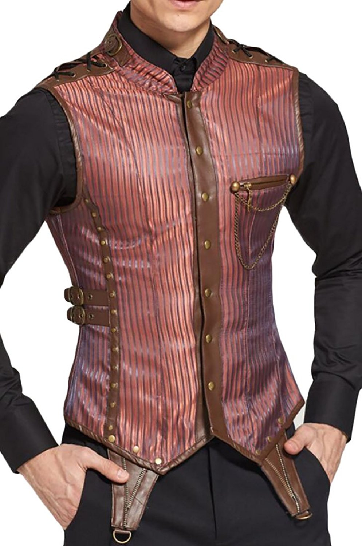 SCARLET DARKNESS Mens Gothic Steampunk Vest Waistcoat Renaissance Vest Tops Blue