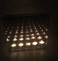 9 cube Infinity light candle holders with wood base