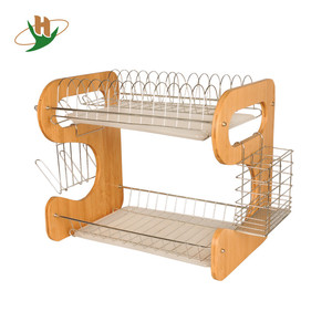 2 tier Kitchen Bamboo folding dish drying rack with metal basket