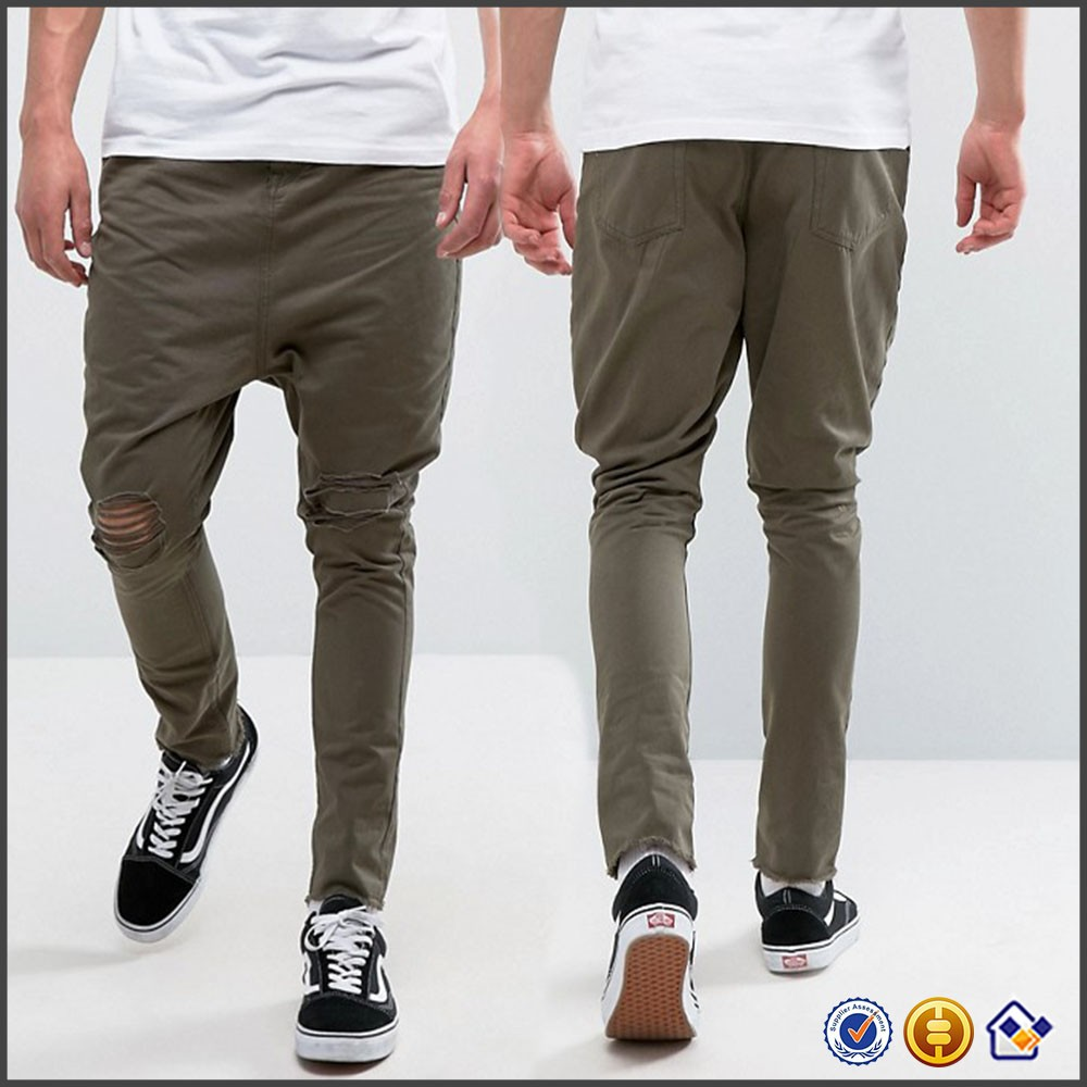 KY men custom logo 100% cotton raw-hem ripped drop crotch chinos jogger cargo pants