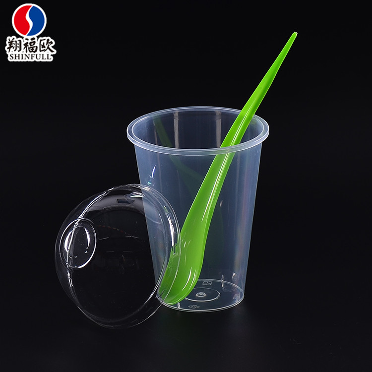 Custom 95mm logo print clear pp injection mould cup mini plastic dessert cups disposable