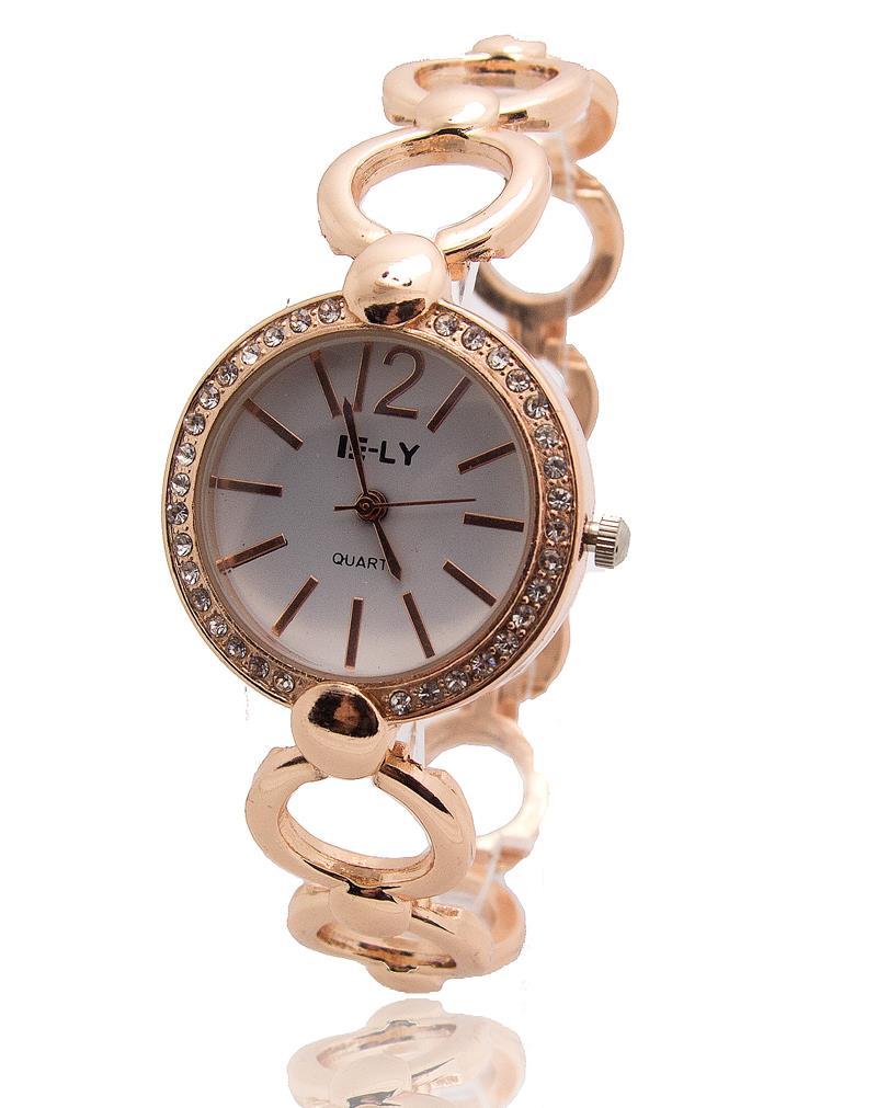 Высокое качество розовое золото женщины леди кристалл браслет часы кварцевые часы новый барбекю