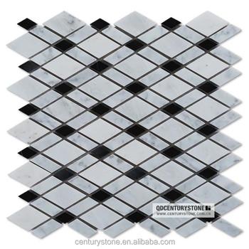 Carrara White Marble Mosaic Bathroom Floor Tile Diamond Shaped Black - Diamond shaped tile flooring