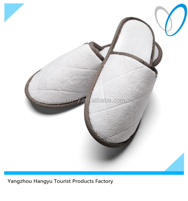 Luxury quilting white velour slippers for women