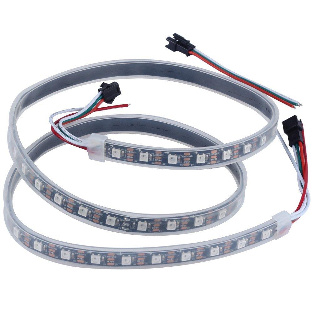 SZMiNiLED Double Row Black PCB 5050SMD Warm White DC 12V LED Flexible Strip Ribbon Tape 16.4ft 5m 600LEDs Non-Waterproof LED String Lights Warm White