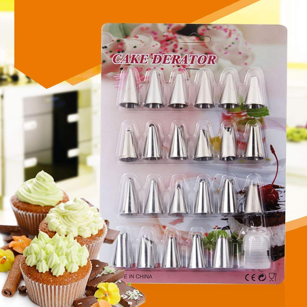 MAIDIEN 24Pcs/Set Cake Piping Nozzles Stainless Steel Pastry Icing Flower Tips Cake Decorating Tools Cream Mouth