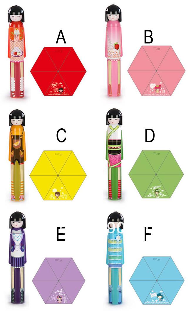 Бесплатная доставка новый KOKESHI куклы складной зонт blueKimono девушка японский, Kokeshi куклы зонтик 50 шт./лот