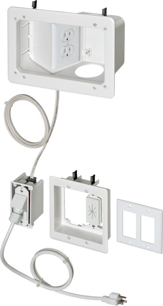Arlington TVB712BK-1 Angled Box In-Wall Wiring Kit, Pre-Wired TV Bridge, 2-Gang, White, 1-Pack
