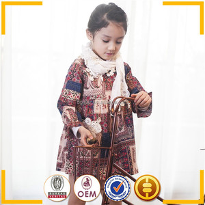 Cute baby girl fall clothes Korean style vintage palace wind pattern girls dress