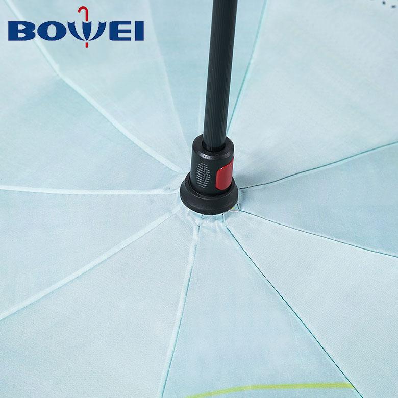 2019 New custom windproof reverse umbrella with C handle