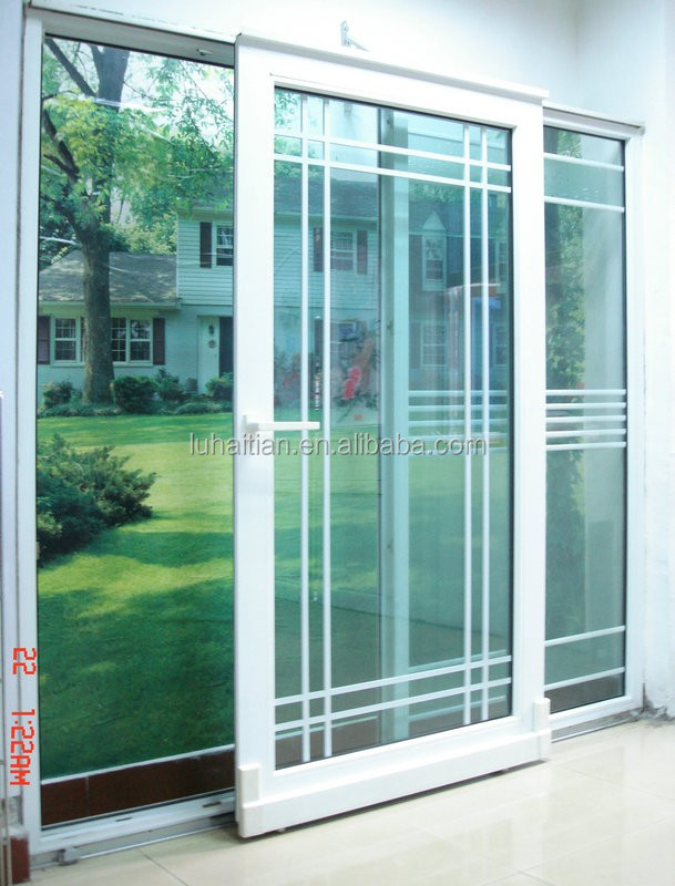 2016 New Design Hoe Sale UPVC Sliding Door Within Decorated Grills, Balcony  Sliding Doors