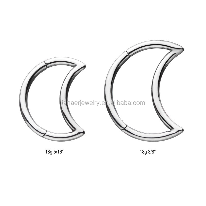 G23 Titanium Crescent Moon Hinged Segment Rings Septum Clicker Nose Piercing Helix Conch Tragus Piercing Earring 16G