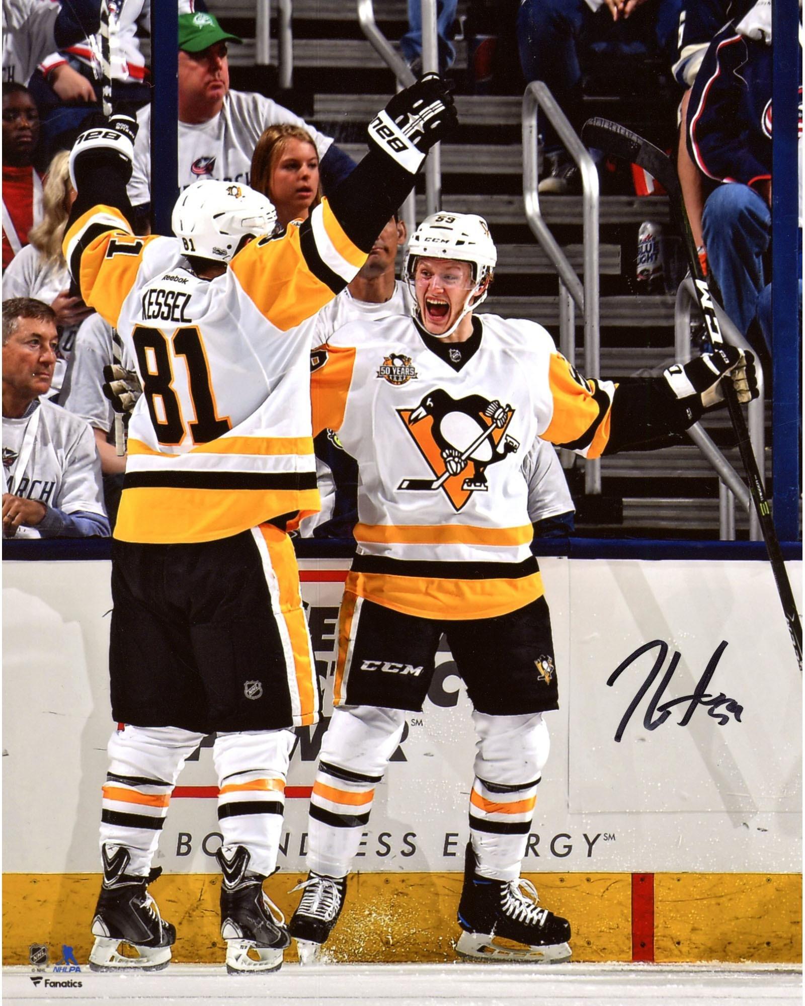 "Jake Guentzel Pittsburgh Penguins Autographed 8"" x 10"" Game Three Hat Trick Celebration Photograph - Fanatics Authentic Certified"