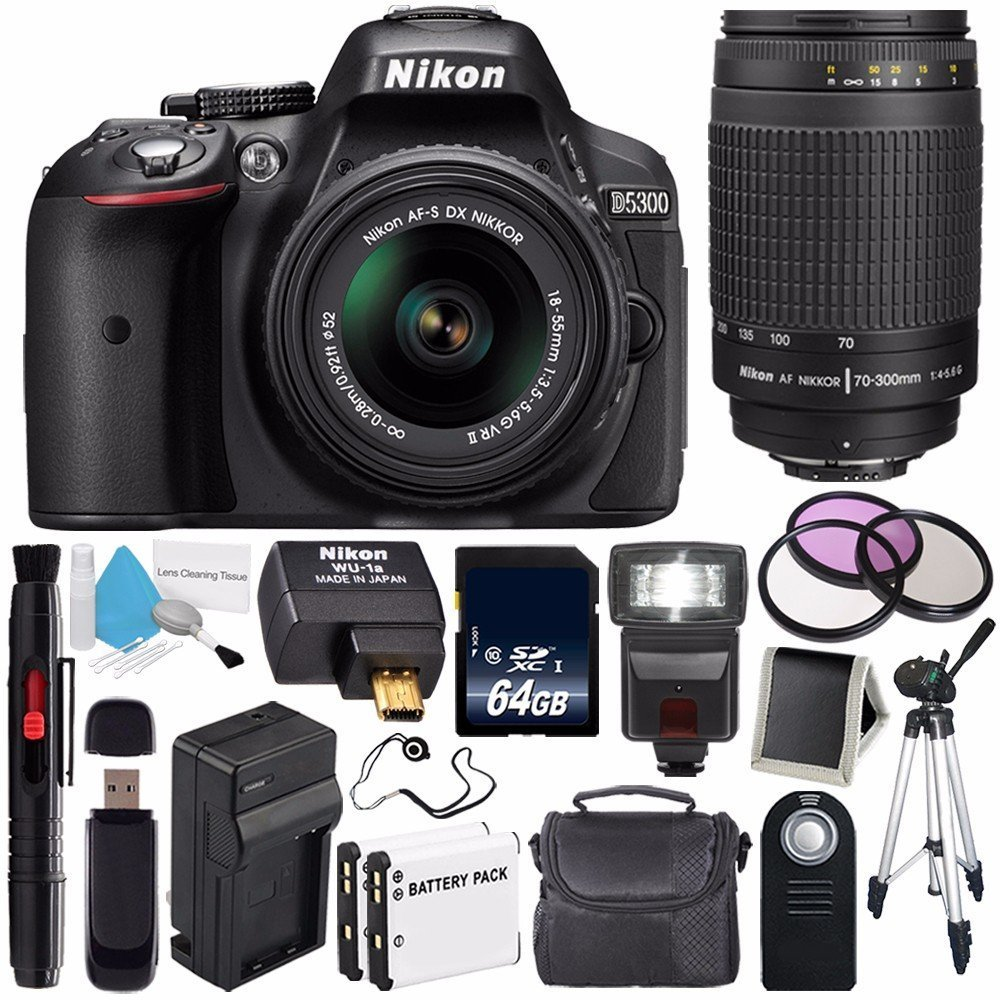 Nikon D5300 Digital Camera w/ 18-55 VR II Lens (International Model No Warranty) + Nikon 70-300mm f/4-5.6G Zoom Lens + Nikon WU-1a Wireless Mobile Adapter Bundle 56