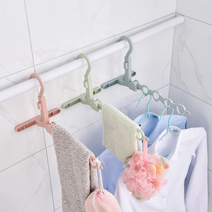 4holes hanger Home Accessories Foldable Clothes Hanger Drying Rack 4 Hole Suit Bathroom Door Plastic Organizer