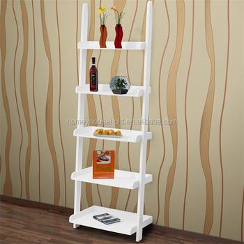 Simple Living Room Showcase Design Wooden Storage 5 Tier Ladder Shelf Shelving Rack Bookcase