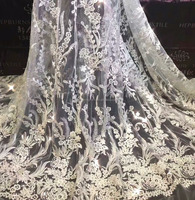 Latest Factory wholesale Wedding dress lace embroidery 3D Flower Bead embroidery bridal French laces fabrics