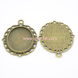 Antique Lace Blank Alloy Pendant Tray Component ,Cabochons Settings
