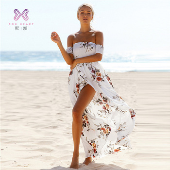 9748278363 2019 best selling ropa de mujer Summer Strapless Loose Lantern Sleeve Women  Beach Chiffon Casual dresses