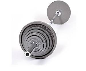 "CAP Barbell OSG 480 pound Olympic Barbell Set - Olympic Bar and Cast Iron Olympic Plates - Old School Gray ""Standard"" Weight Lifting Set"