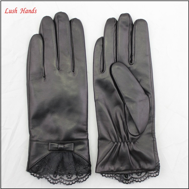 women's and Girl leather gloves with black lace and belt bow Elegant Styles leather gloves