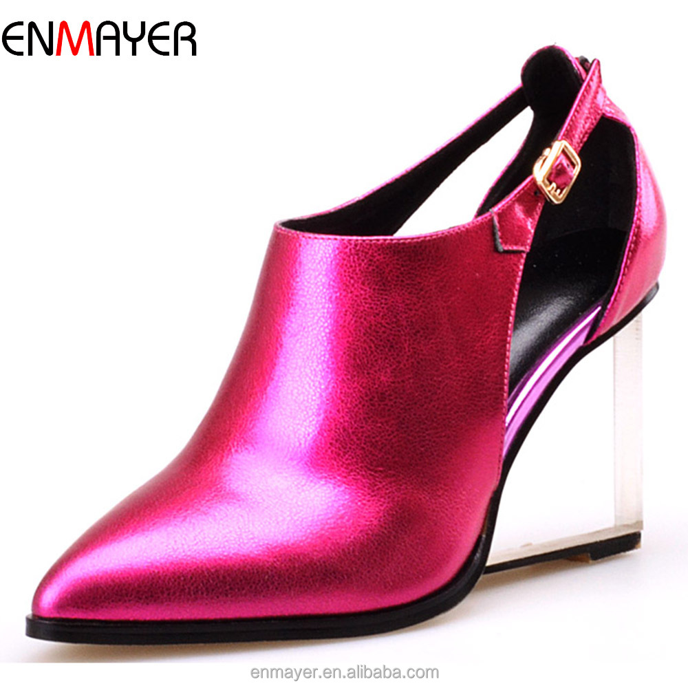 European fashion genuine cowhide leather transparent wedge heel women dress shoes