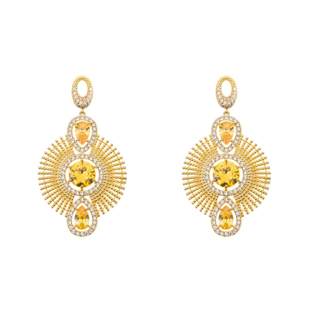 New Designs Gold Jhumka Earring India 18k Gold CZ Jewelry Wholesale