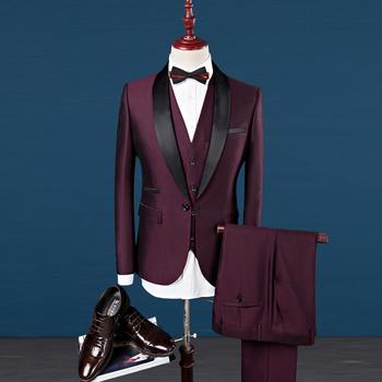 Men Suit Wedding Suits For Shawl Collar 3 Pieces Slim Fit Burgundy Mens Royal