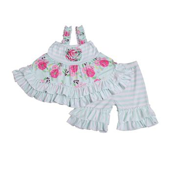 Baby girls blue aqua cute floral flower print ruffle tunic ready to ship outfits kids clothes sets