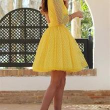 38c7b90819 Mesh Polka Dot O-neck Summer Dress Women Elegant 2019 Sundress Yellow  Backless Mini Party