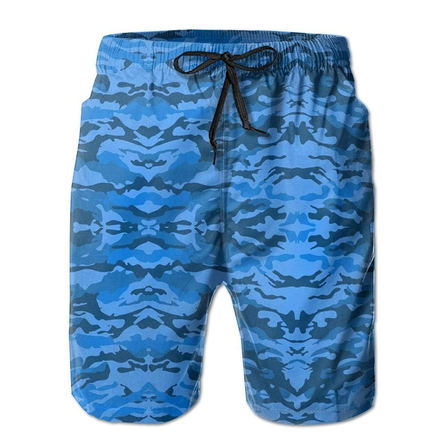 96c85b4485 Get Quotations · I Like Exercise Blue Camouflage Camo Men's Summer Casual Swimming  Shorts Beach Board Shorts Large