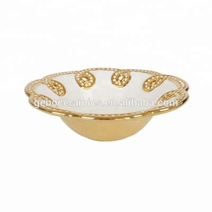 Decorative White Ceramic Carving Gold / Silver Plated Fruit Bowl Wholesale