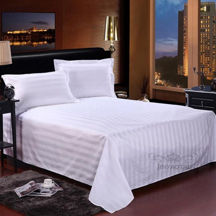 White Stripe Hotel Bed Sheets Bedding Set Sheraton Satin