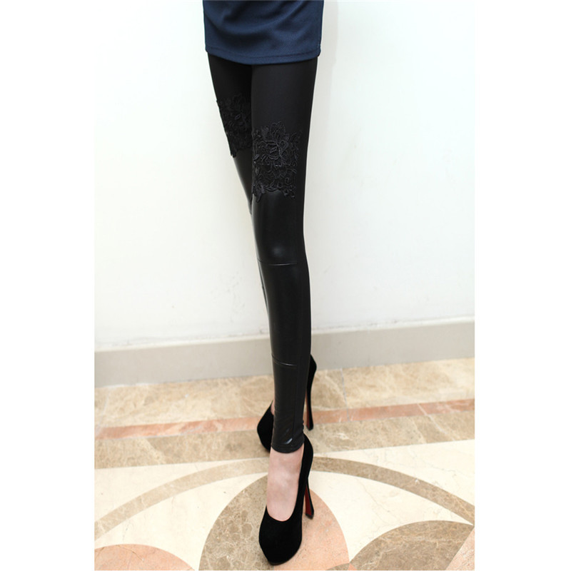 000625d1638f0 Get Quotations · Mingao New Free shipping autumn winter Women Pants Pu  Leather lace velvet stitching bottoming stretch Slim