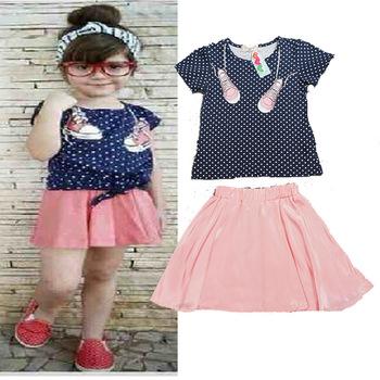 3484889d6 Summer Kids Baby Girls Cloth Sets Polka Dot Print T Shirts + Dress ...