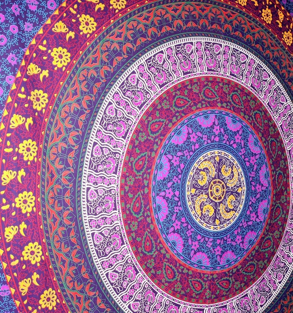 Popular Handicrafts Barhmeri Circle of Flowers hippie Tapestry wall art Multi-colored Mandala Tapestry Indian bedspread tapestry Wall Hangings 85 X 54 Inches by Popular Handicrafts