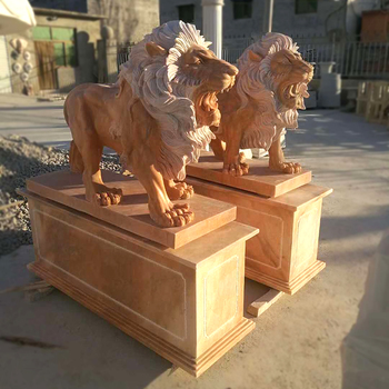 Stock  Lion Statues Marble With base