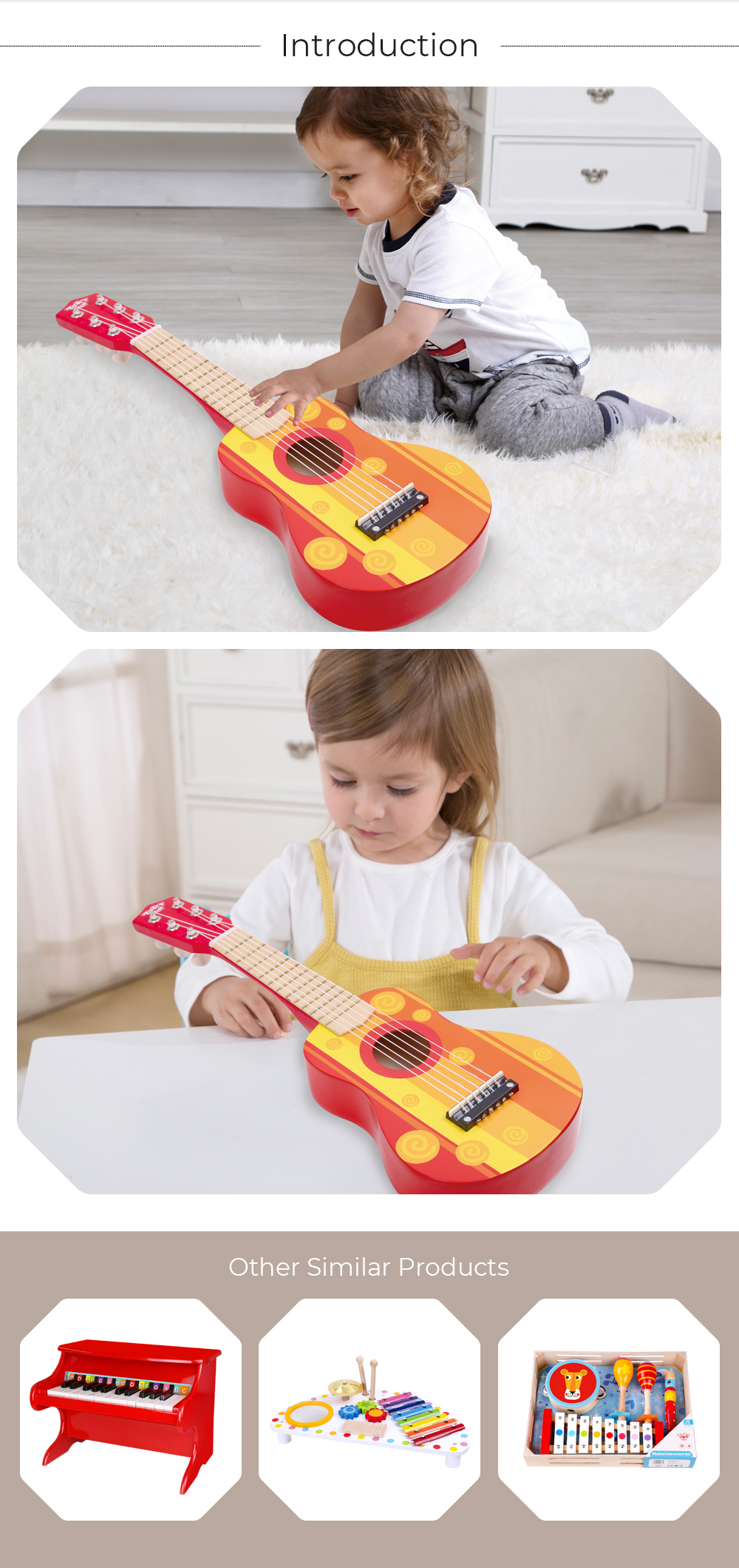 Fashion children wooden bass guitar, hot sale children toy acoustic guitar, popular wooden guitar