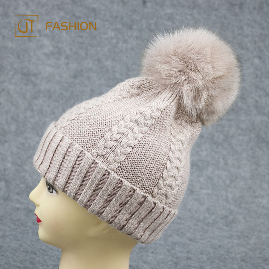 Best Selling Jtfur 100% Fox Fur Cashmere Knitted Beanie Pom Pom Hat 3a5c9fd159b