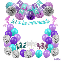 Microstar Little Mermaid Theme Party Supplies Birthday Banner Garland Confetti Balloon Cake Topper Set For Party Decorations
