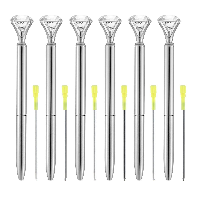 Aolvo Diamond Tip Pens, Big Diamond Pen Rhinestones Crystal Metallic Ballpoint Pens Black Ink 6 Pcs Sliver