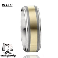 High Quality two tone gold & tungsten plating men ring with dual brushed stripes