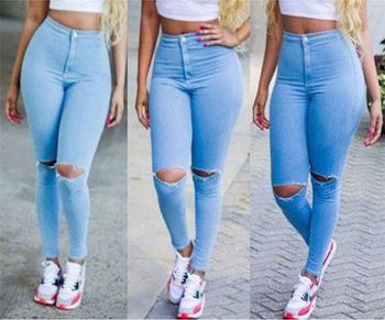 DON27 Latest Design Sexy Woman Jeans Pants Fashion Destroy Skinny Tops Girls