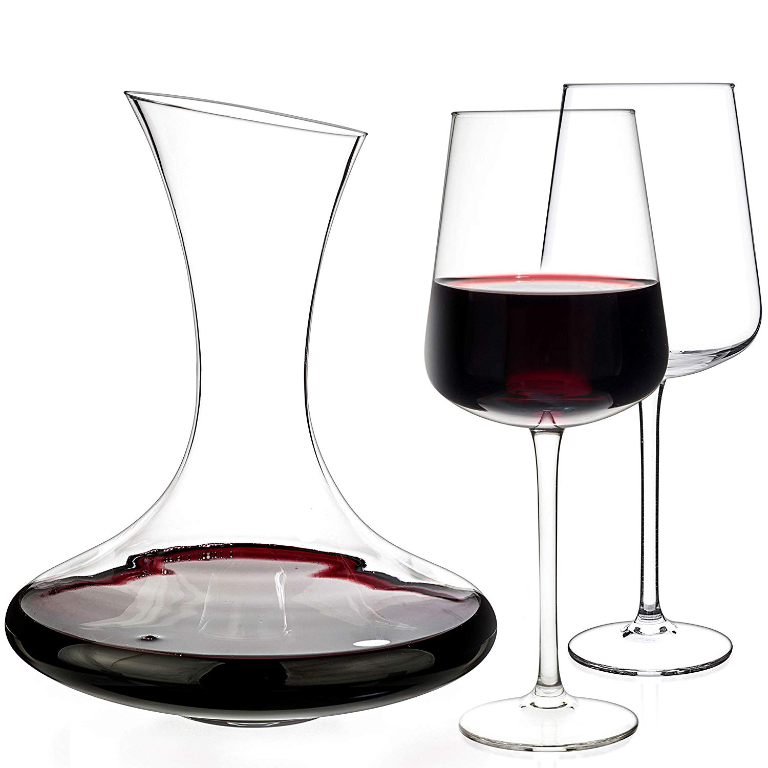Luxbe - Wine Decanter 54-ounce + Set of 2 Wine Crystal Glasses - 100% Hand Blown Lead-free - Sturdy Red Wine Carafe Pitcher Aerator Pourer
