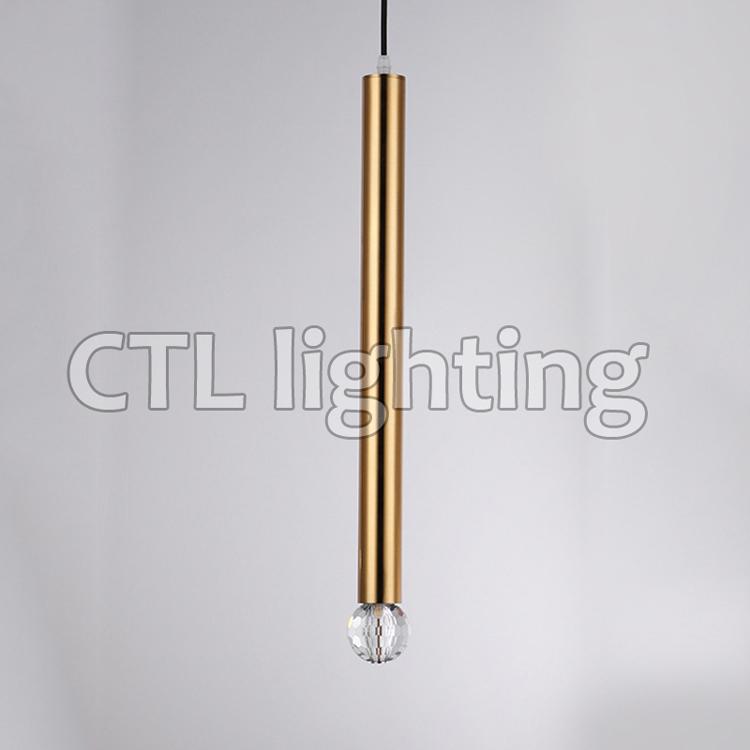 Altın k9 kristal LED tüp asılı kolye ışıkları kapalı dekoratif İskandinav avize aydınlatma modern lambalar