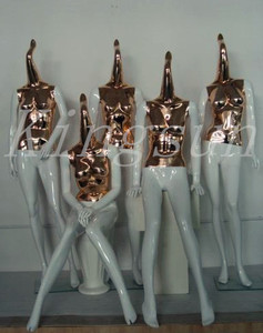 Designed abstract manneqin gold color mannequin chrome mannequin