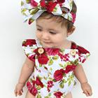 2 pcs Set Newborn Baby Girls Summer Floral Rompers head hand Baby Girls Flower Jumpsuit Clothes