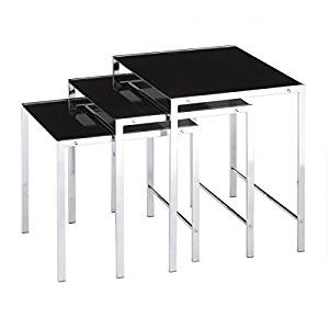 Get Quotations · Contemporary Glass Topped Chrome Plated Stijl Nesting Side  Accent Tables (Set Of 3) Includes